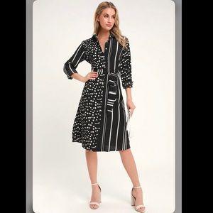 Lulu's Via Dolce Striped Polka Dot Shirt Dress LS
